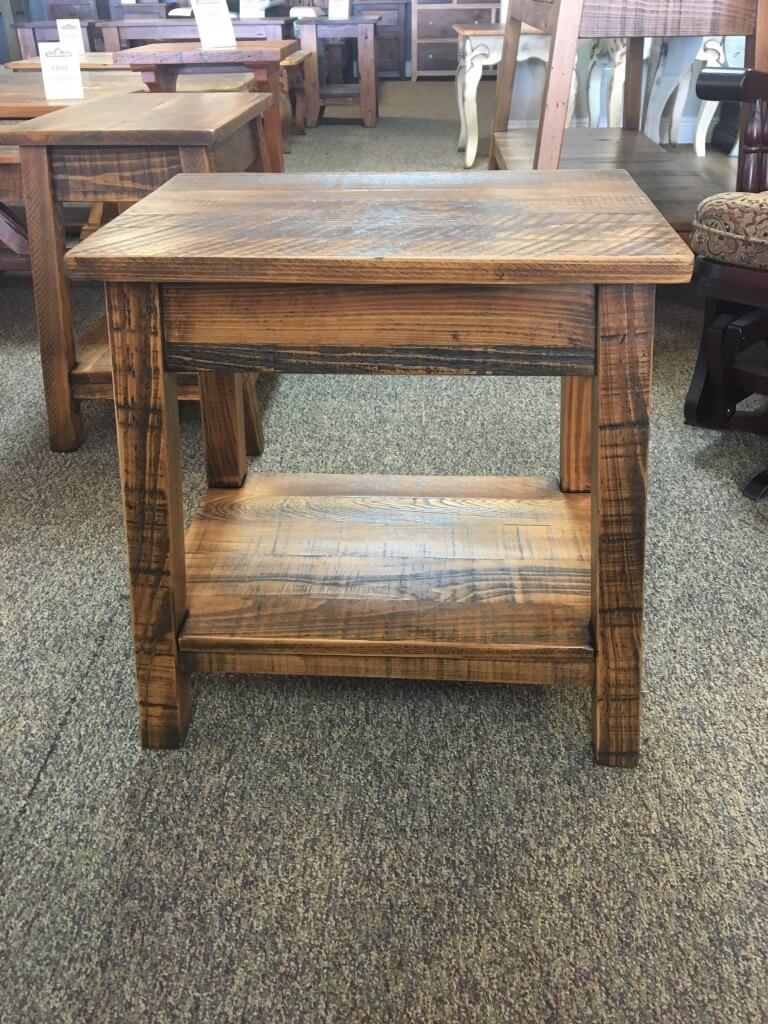Rough Sawn New Cypress Small Bombay Table In Whisky