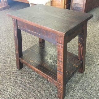 Rough Sawn New Cypress Small Bombay Table in Aged Tobacco @ Baton Rouge in Stock BR-280
