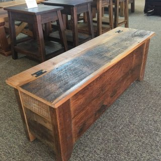 Barnwood Shaker Storage Bench in Natural Barnwood @ Baton Rouge BR-281 SOLD