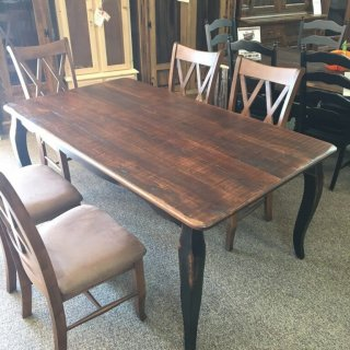 Rough Sawn New Cypress French Leg Table in Coffee w/ Antique Black Base @ Baton Rouge BR-283 SOLD