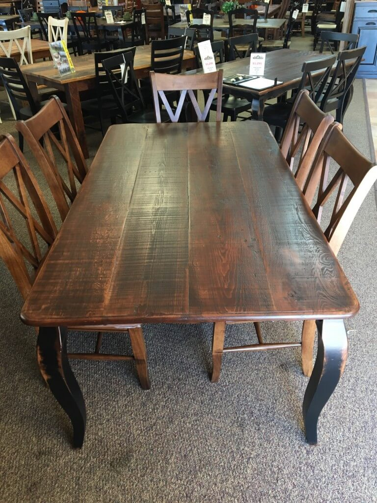 Rough Sawn New Cypress French Leg Table In Coffee W Antique Black Base Baton Rouge Br 283 Sold