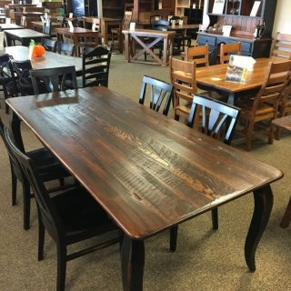 Rough Sawn New Cypress French Leg Table in Coffee w/ Antique Black Base @ Baton Rouge BR-284 SOLD