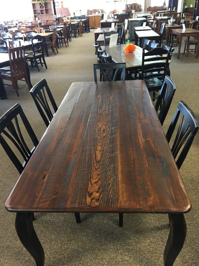 Rough Sawn New Cypress French Leg Table in Coffee w/ Antique Black Base @ Baton  Rouge BR-284 SOLD - Rough Sawn New Cypress French Leg Table In Coffee W/ Antique Black