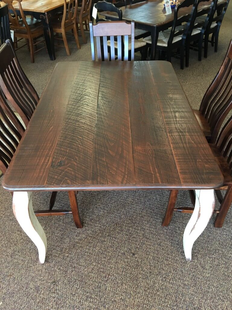 Rough Sawn New Cypress French Leg Table In Coffee W/ Anderson White Base @  Baton Rouge BR 285 SOLD