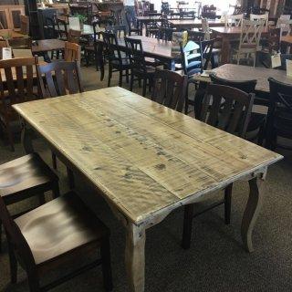 Rough Sawn New Cypress Fleur de Lis Table in Vintage White @ Baton Rouge BR-287 SOLD