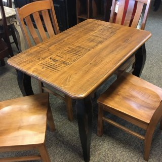 Rough Sawn New Cypress French Table in Whisky w/ Antique Black Base @ Baton Rouge BR-289 SOLD