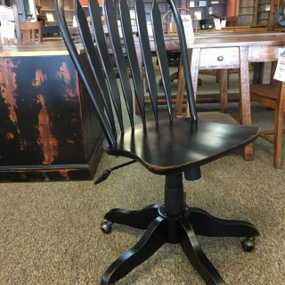Office Rolling Desk Chair in Antique Black @ Baton Rouge BR-293 SOLD