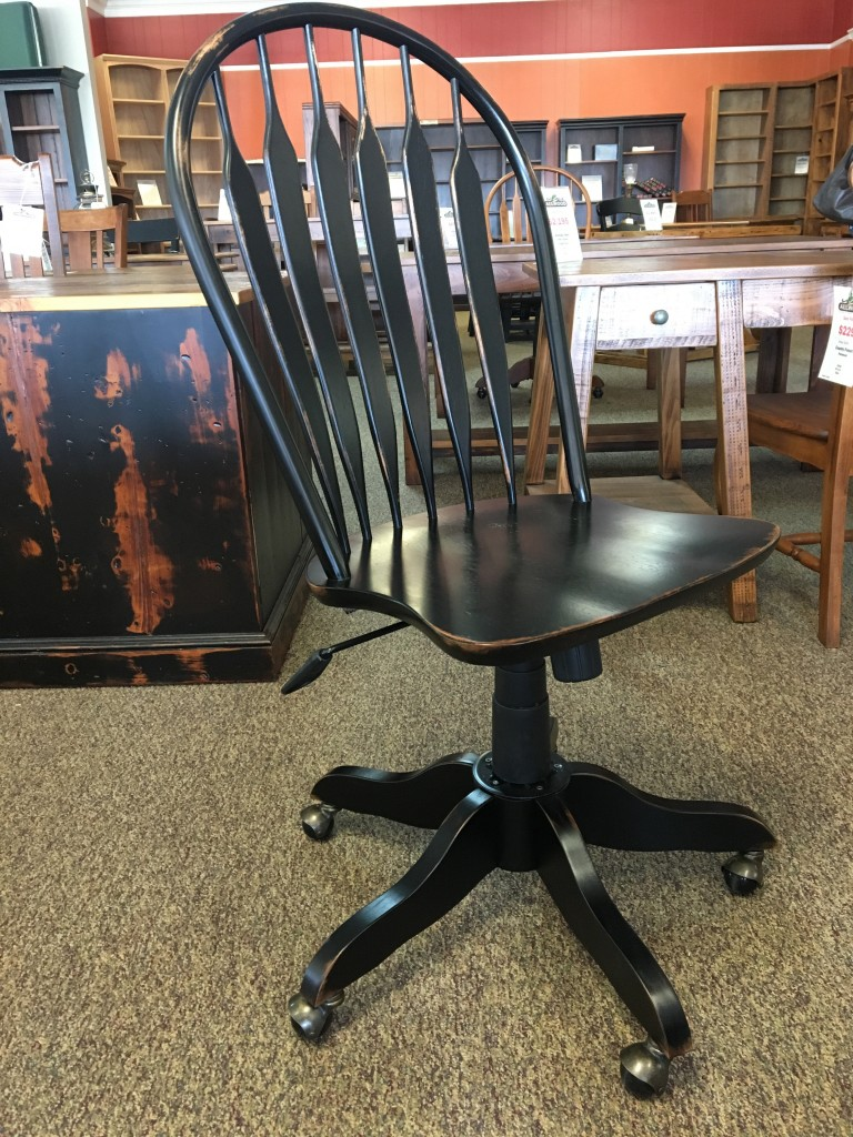 Office Rolling Desk Chair In Antique Black Baton Rouge In Stock Br 293 All Wood Furniture