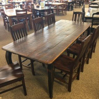 Rough Sawn New Cypress French Leg Table in Coffee w/ Antique Black Base @ Baton Rouge BR-296 SOLD