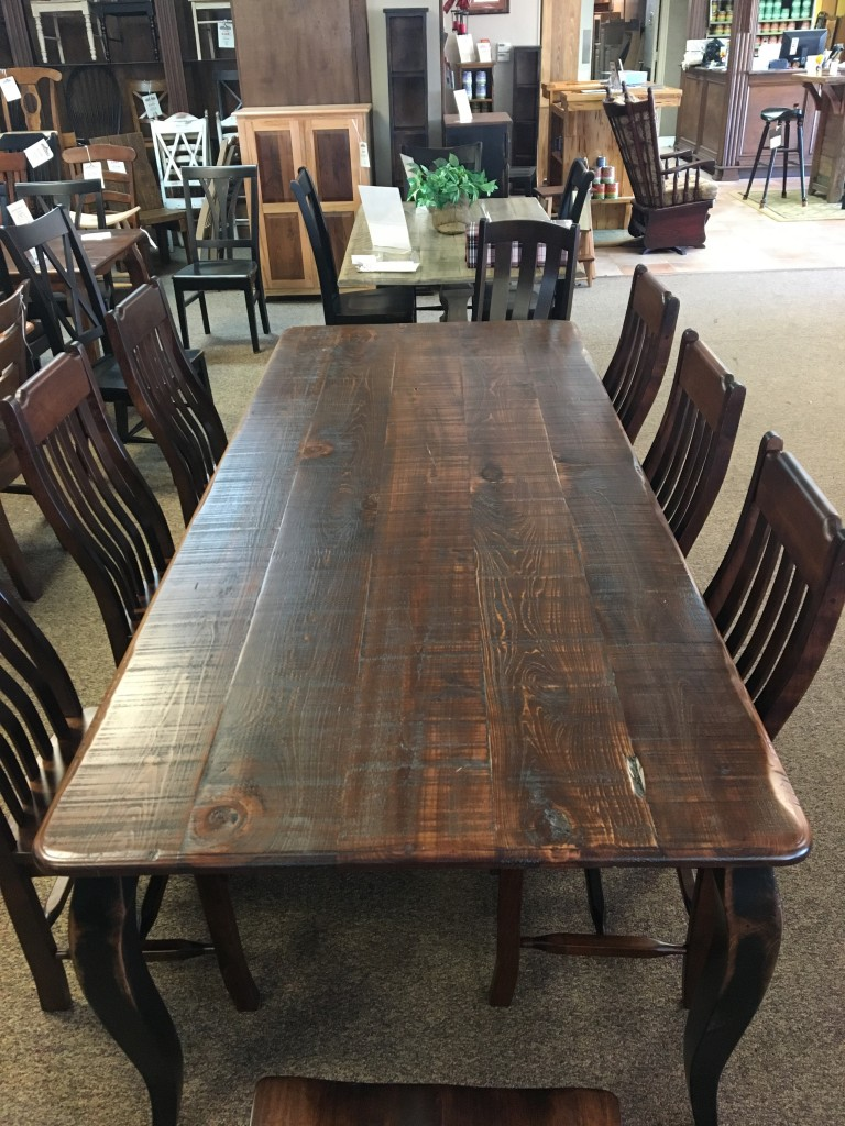 Rough Sawn New Cypress French Leg Table in Coffee w/ Antique Black Base @ Baton  Rouge BR-296 SOLD - Rough Sawn New Cypress French Leg Table In Coffee W/ Antique Black