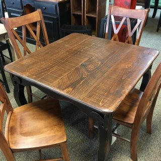 Rough Sawn New Cypress Fleur de Lis Table in Coffee w/ Antique Black Base @ Baton Rouge BR-299 SOLD