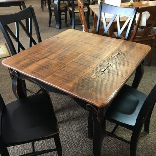 Rough Sawn New Cypress Fleur de Lis Table in Whisky w/ Antique Black Base @ Baton Rouge SOLD