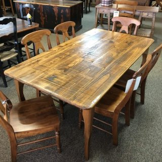 Rough Sawn New Cypress Split Top Creole Leg Table in Whisky @ Baton Rouge BR-301 SOLD