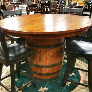 "54"" Round Oak Barrel Table @UL Store UL-202 In Stock"