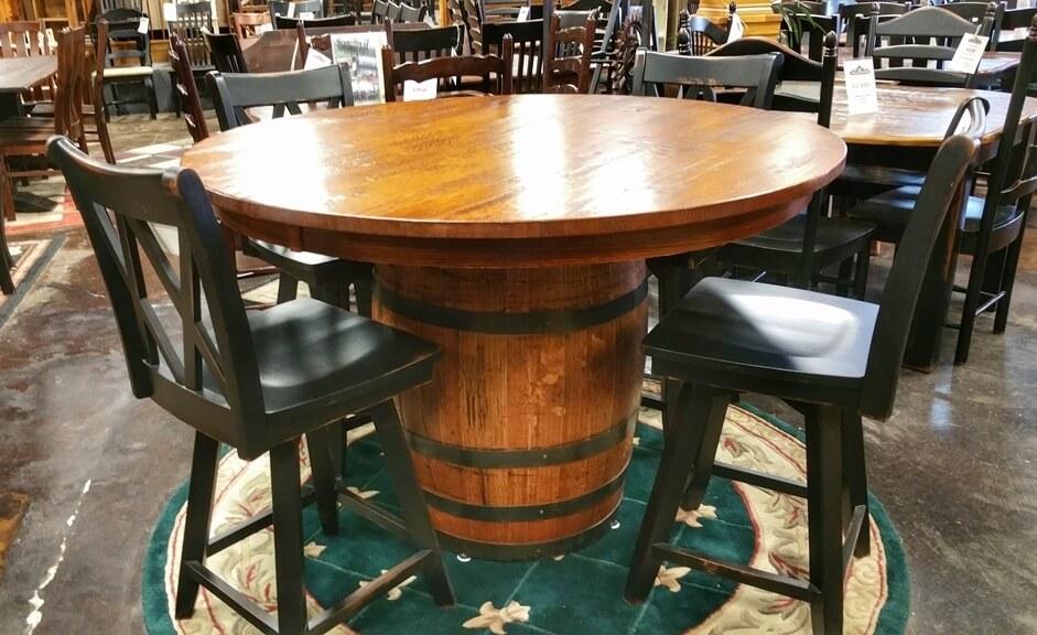 54 Round Oak Barrel Table Ul 202 In Stock