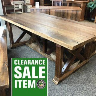 42″ x 7′ X Base Barnwood Table @ Baton Rouge BR-327 SOLD