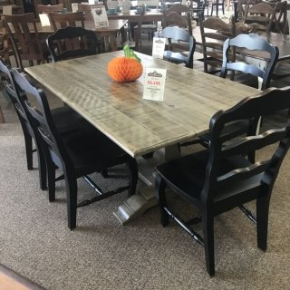 40″ x 6′ Farmhouse Pedestal Table @ Baton Rouge In Stock BR-302