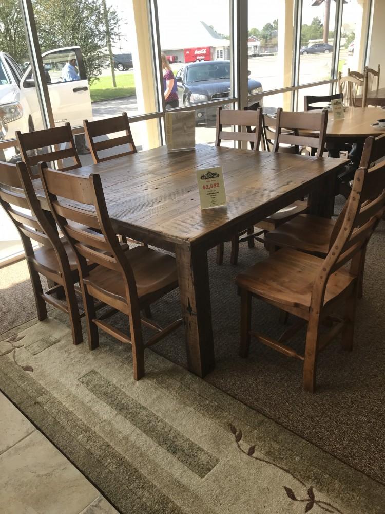 57u2033 X 57u2033 (4×4) Beam Leg Barnwood Table @ Baton Rouge BR 308 SOLD. Chairs  Sold Separately