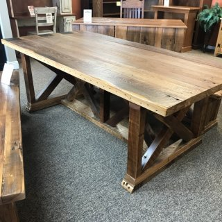 42″ x 7′ X Base Barnwood Table @ Baton Rouge In Stock BR-327