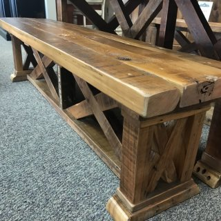 15″ x 6′ Vintage X Barnwood Bench @ Baton Rouge In Stock BR-328A