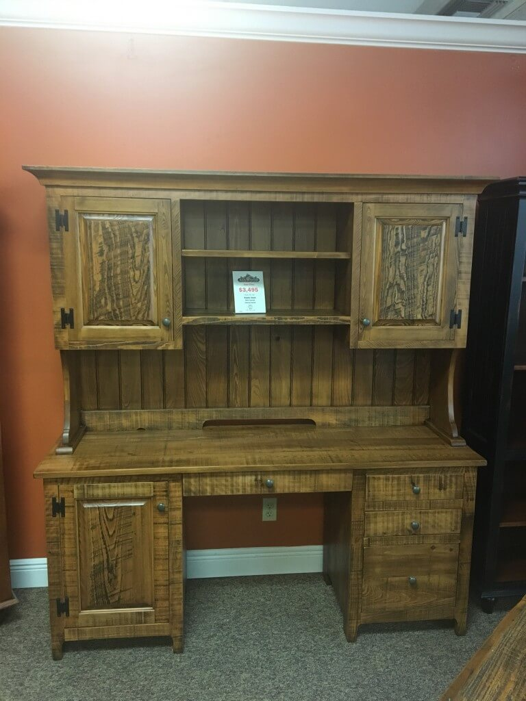 New Cypress Rustic Desk W/ Cabinet Hutch @ Baton Rouge In Stock BR 337
