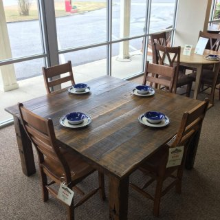 "56"" x 56"" Barnwood Block Leg Table @ Baton Rouge in Stock @ BR-354"