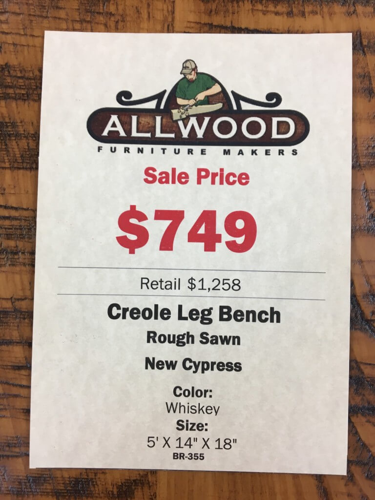 5 Creole Leg Bench Baton Rouge Br 355 Sold All Wood