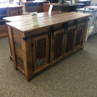 Barn Door TV Stand w/ Sliding Doors @ Baton Rouge SOLD BR-362