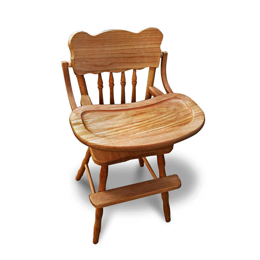 amish oak child s high chair