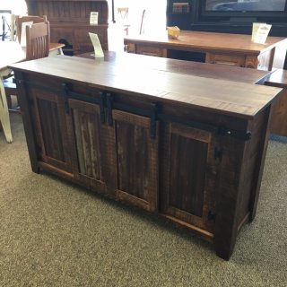Barn Door TV Stand w/ Sliding Doors @ Baton Rouge BR-388 SOLD
