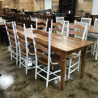 "29"" X 7' Fleur De Lis Knotched Leg Table @ Pinhook In Stock PH-366"