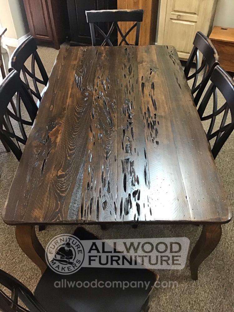 40 X 6 French Leg Table W Pecky Cypress Top Baton