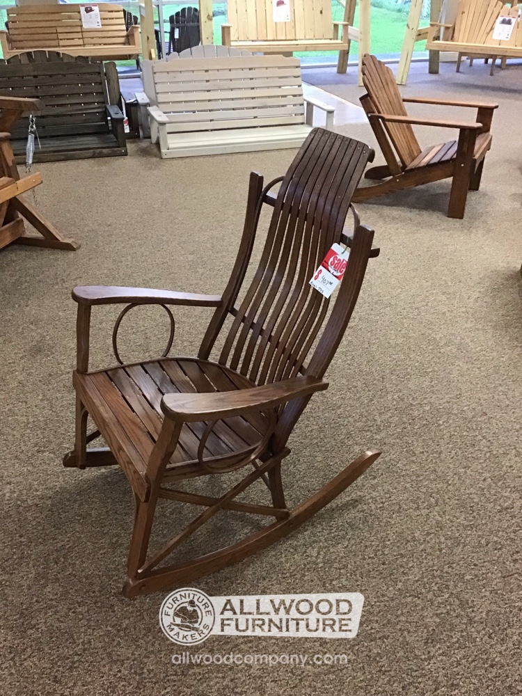 Amish Bent Oak Rocker Baton Rouge In Stock Br 502 All Wood Furniture